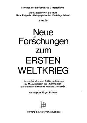 Neue Forschungen zum Ersten Weltkrieg PDF