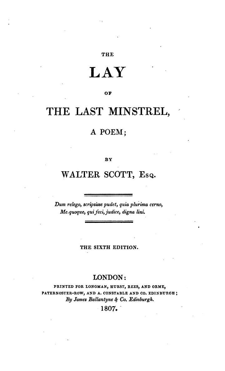 The lay of the last minstrel, a poem