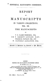 Report on Manuscripts in Various Collections ...