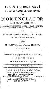 Christophori SaxI Onomasticon literarium