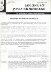1970 Census of Population and Housing: Publication and Computer Tape Program, Volume 3