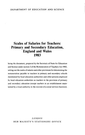 Scales of Salaries for Teachers in Primary and Secondary Schools  England and Wales PDF