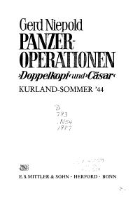 Panzeroperationen  Doppelkopf  und  C  sar  PDF