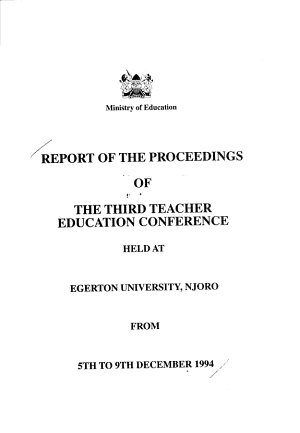 Report of the Proceedings of the Third Teacher Education Conference PDF