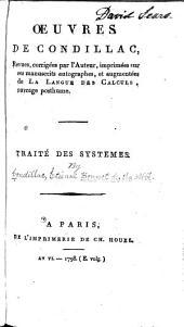 Œuvres de Condillac: Traité des systêmes