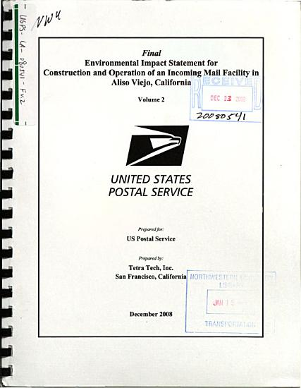 Construction and Operation of an Incoming Mail Facility in Aliso Viejo PDF