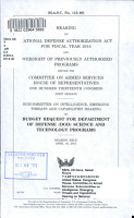 Hearing on National Defense Authorization Act for Fiscal Year 2014 and Oversight of Previously Authorized Programs Before the Committee on Armed Services  House of Representatives  One Hundred Thirteenth Congress  First Session  Subcommittee on Intelligence  Emerging Threats and Capabilities Hearing on PDF