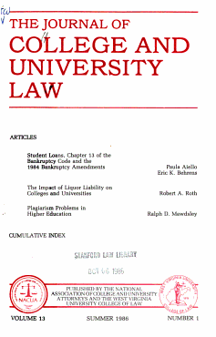 The Journal of College and University Law PDF
