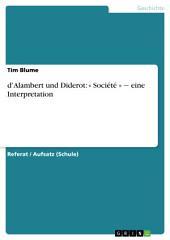d'Alambert und Diderot: « Société » ‒ eine Interpretation