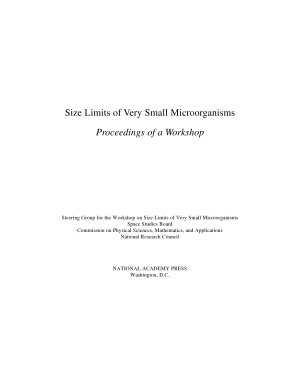 Size Limits of Very Small Microorganisms
