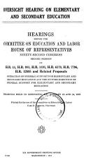 Oversight Hearing on Elementary and Secondary Education PDF