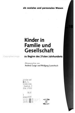 Kinder in Familie und Gesellschaft zu Beginn des 21sten Jahrhunderts PDF