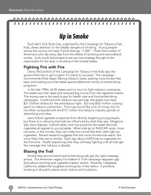 Test Prep Level 5  Up in Smoke Comprehension and Critical Thinking PDF