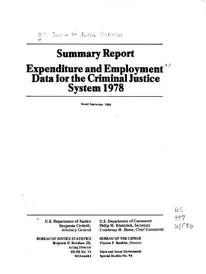 Expenditure and Employment Data for the Criminal Justice System 1978 PDF