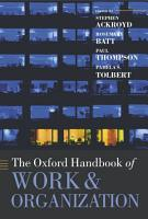 The Oxford Handbook of Work and Organization PDF