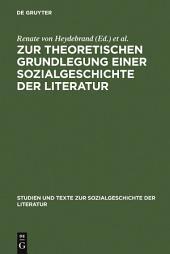 Zur theoretischen Grundlegung einer Sozialgeschichte der Literatur: Ein struktural-funktionaler Entwurf