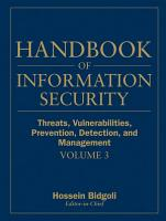 Handbook of Information Security  Threats  Vulnerabilities  Prevention  Detection  and Management PDF