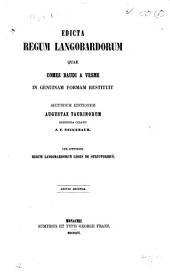 Edicta regum Langobardorum: quae comes Baudi a Vesme in genuinam formam restituit
