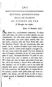 Lettera quindicesima dell'ab. Masdeu al signor ab. Fea. Il bersaglio non colpito ..