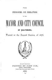 Ordinances and Resolutions of the Mayor and City Council of Baltimore ...