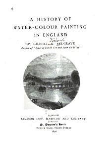 A History of Water colour Painting in England PDF