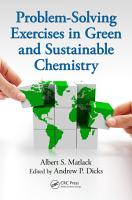 Problem Solving Exercises in Green and Sustainable Chemistry PDF