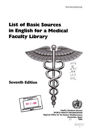 List of Basic Sources in English for a Medical Faculty Library PDF