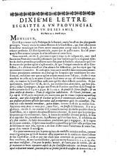 Dixiéme lettre escritte a un provincial par un de ses amis. De Paris ce 2. Aoust 1656