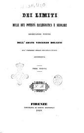 Dei limiti delle due potestà ecclesiastica e secolare dissertazione postuma
