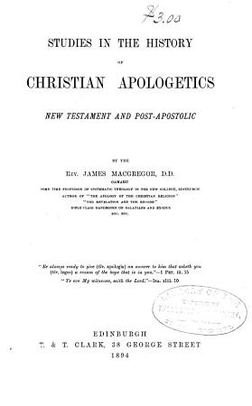 Studies in the History of Christian Apologetics PDF