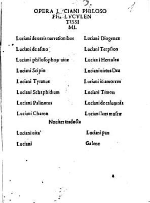 Opera   Luciani   Philosophi   Luculentissimi PDF