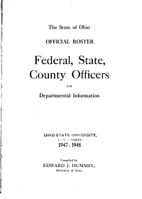 Official Roster, Federal, State, County Officers and Departmental Information