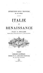 Entretiens sur l'histoire du XVIe siècle: Italie et Renaissance