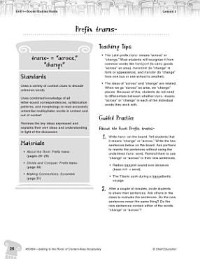 Content Area Vocabulary Level 4  Prefix trans  PDF