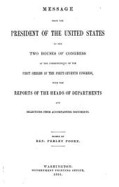 The Abridgment ... Containing the Annual Message of the President of the United States to the Two Houses of Congress ... with Reports of Departments and Selections from Accompanying Papers