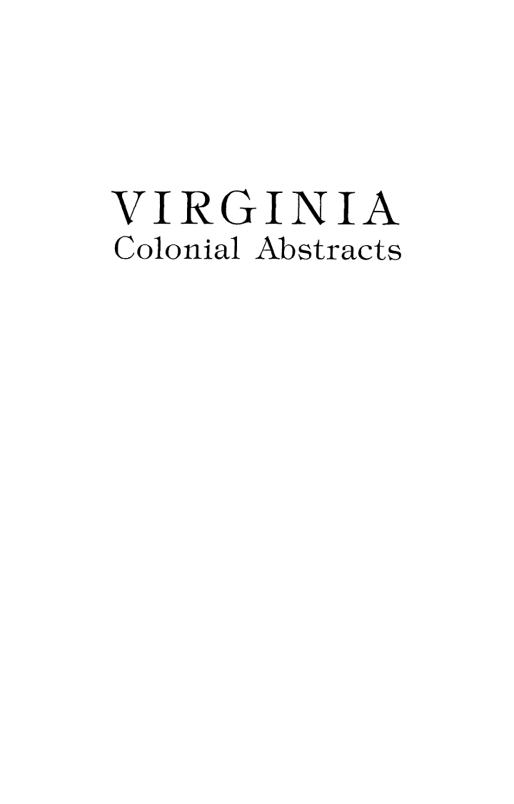 Virginia Colonial Abstracts