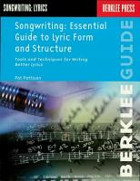 Songwriting  Essential Guide to Lyric Form and Structure PDF