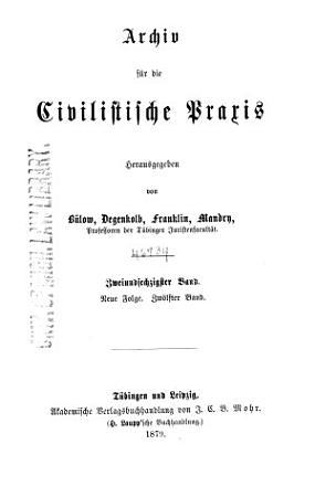 Archiv f  r die civilistische Praxis PDF