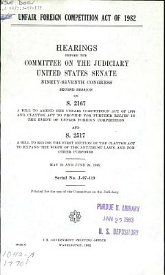 Unfair Foreign Competition Act of 1982