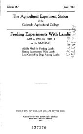 Bulletin - Colorado Agricultural Experiment Station: Issues 186-209