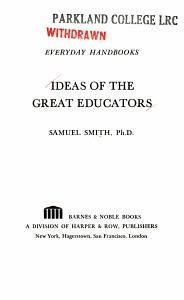 Ideas of the Great Educators PDF