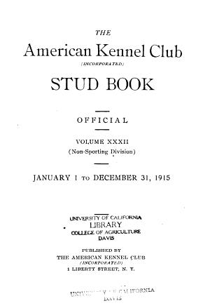 American Kennel Club Stud Book Register