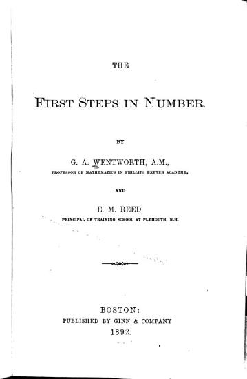 The First Steps in Number PDF