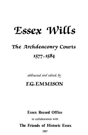Essex Wills