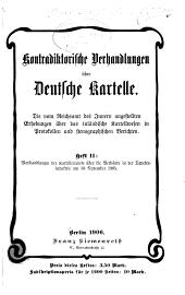 Kontradiktorische Verhandlungen über Deutsche Kartelle: Steinkohlen und Koks