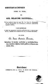 Observaciones críticas sobre el romance de Gil Blas de Santillana: en las cuales se hace ver que Mr. Le Sage lo desmembró del de El bachiller de Salamanca, entonces manuscrito español inédito
