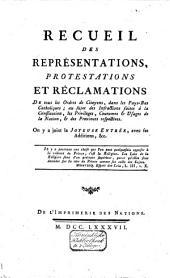 Recueil des représentations, protestations et réclamations faites à S. M. I. par les représentans et états des provinces des Pays-Bas Autrichiens: Volume5