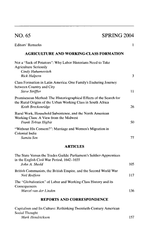 International Labor and Working Class History PDF