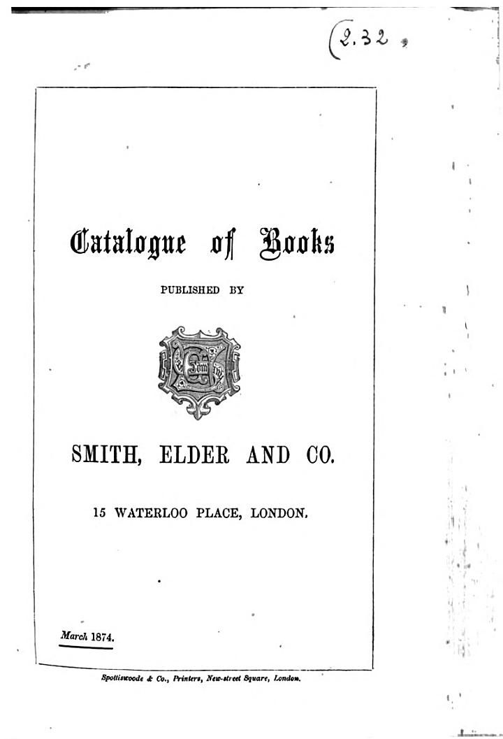 Catalogue of Books Published by Smith, Elder and Co