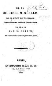 De la richesse minérale par M. H. de V. ... Extrait par M. Patrin